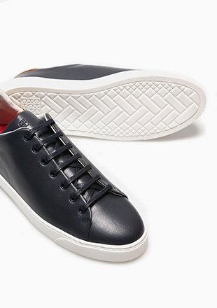 NAPA AND CROC-EFFECT LEATHER SNEAKERS