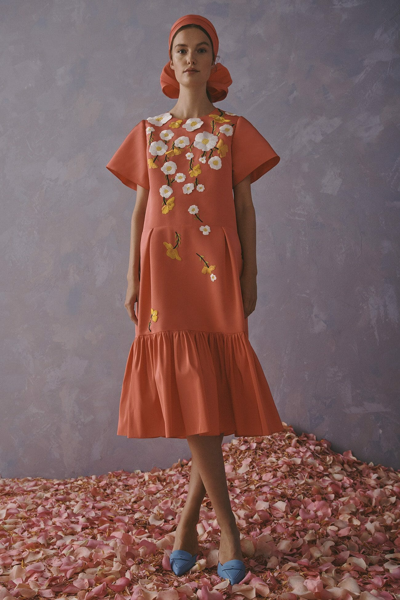 Carolina Herrera New York Resort 2020 Collection coral flower dress