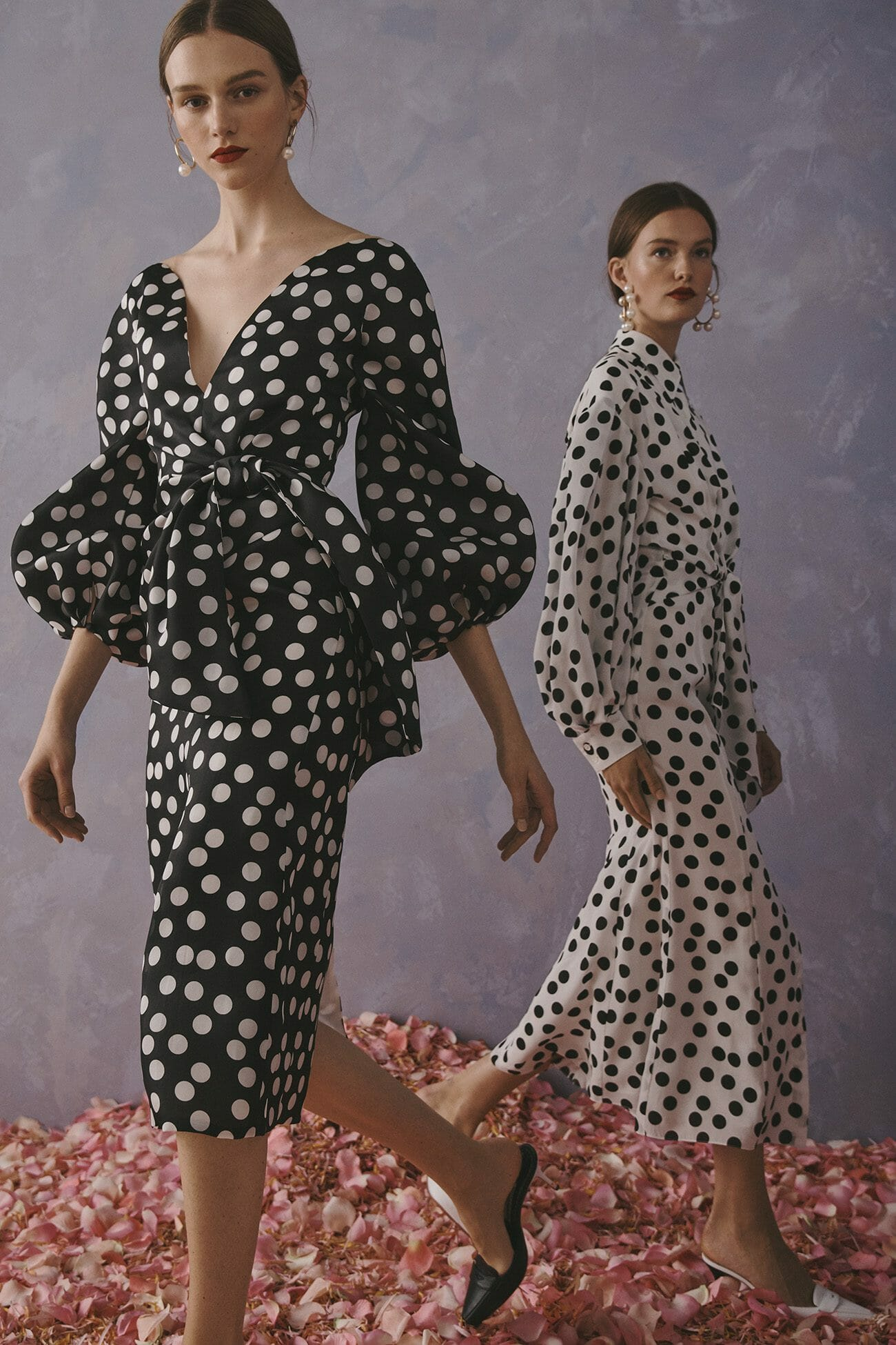 Carolina Herrera New York Resort 2020 Collection polka dot black white dress