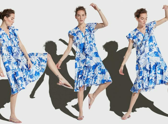 CH Carolina Herrera. New Womenswear Collection Painted in blue. Look 06